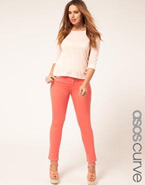 ASOS Curve | ASOS CURVE Exclusive Coral Skinny Jeans #4 at ASOS