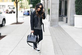 crystalin marie blogger t-shirt jacket leggings shoes bag handbag givenchy bag black leather jacket leather jacket