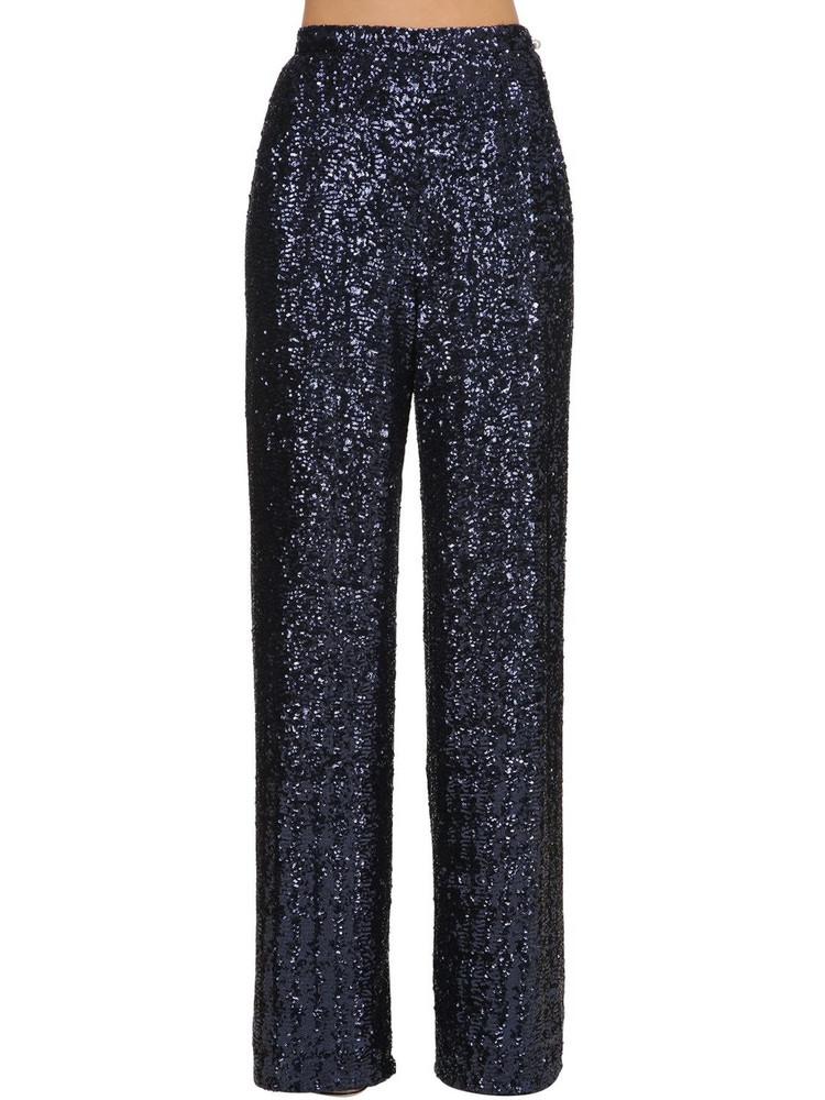 INGIE PARIS Wide Leg Sequined Pants in blue
