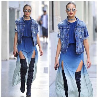 dress double slit skirt maxi dress olivia culpo boots over the knee boots jacket denim jacket streetstyle sunglasses jeans