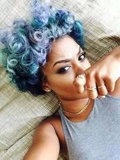 jewels,tank top,top,curly hair,natural hair,colorful,african american,black girls killin it,pastel hair
