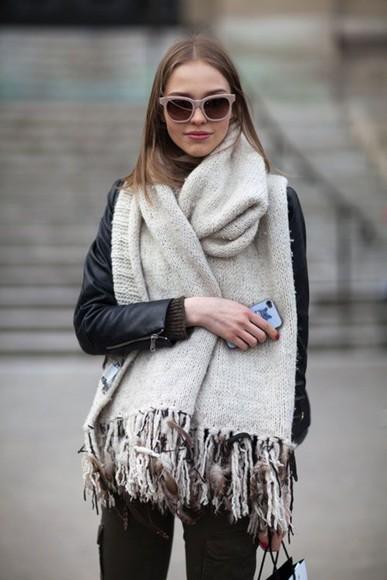 scarf oversized fringe FALL FASHION cozy scarf