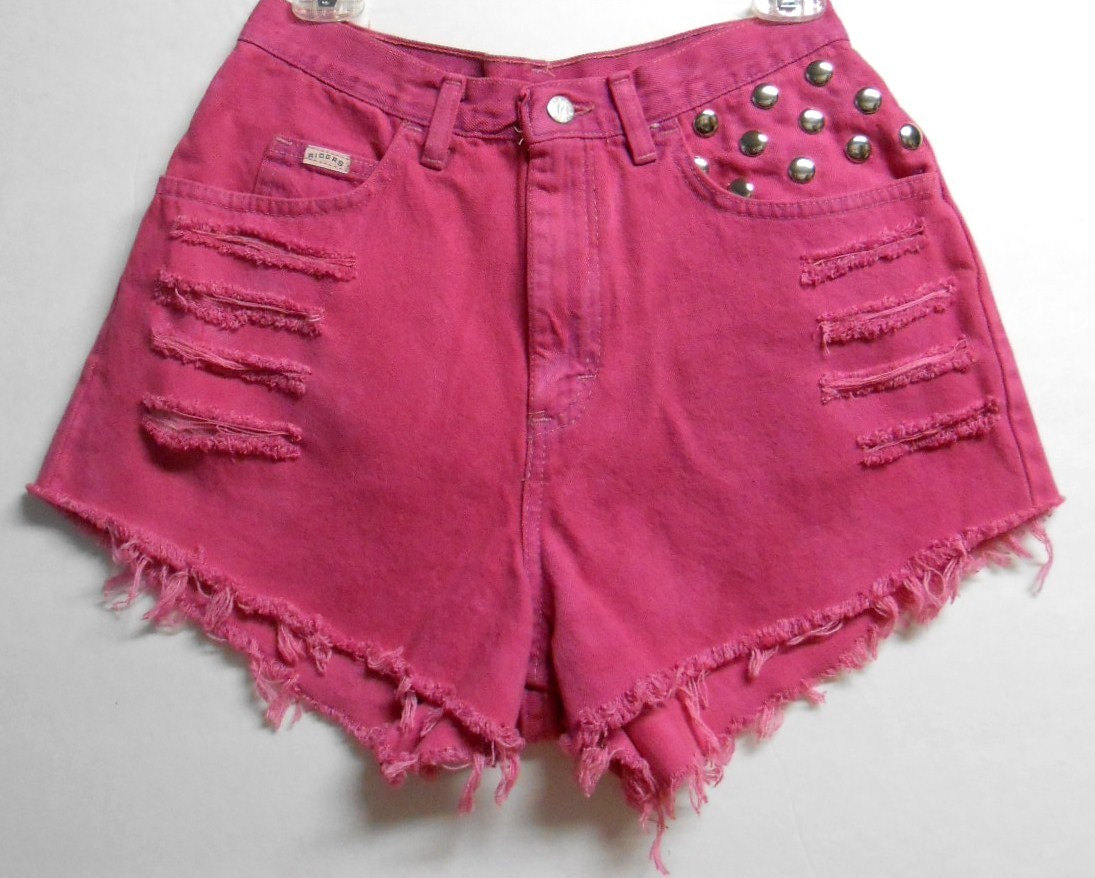 Vintage High Waisted HOT Pink Hand Dyed Studded Shorts - Waist 28 inches