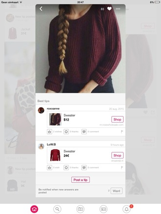 sweater red nittet sweather