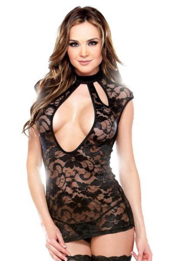 dress fantasy lingerie black cut out lingerie dress g string
