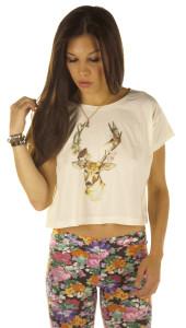 Oversized deer crop top 3457 (£24.00) - Svpply