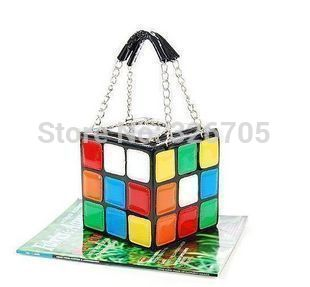 PU leather bag handbag colorful Rubik Cube Bag Hot Love Personalized handbag chain bag free shipping-in Shoulder Bags from Luggage & Bags on Aliexpress.com