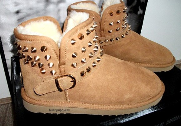 spikes shoes boots low cute belt beige winter cold