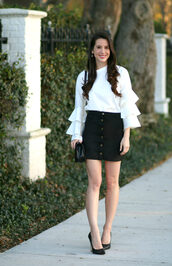 diary of a debutante,blogger,top,skirt,shoes,bag,jewels,white blouse,button up skirt,black skirt,pumps,high heel pumps,bell sleeves