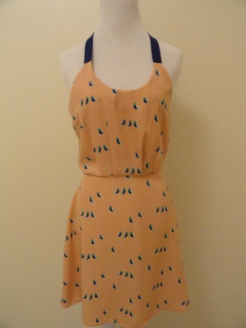 Jb bird print halter dress in peach
