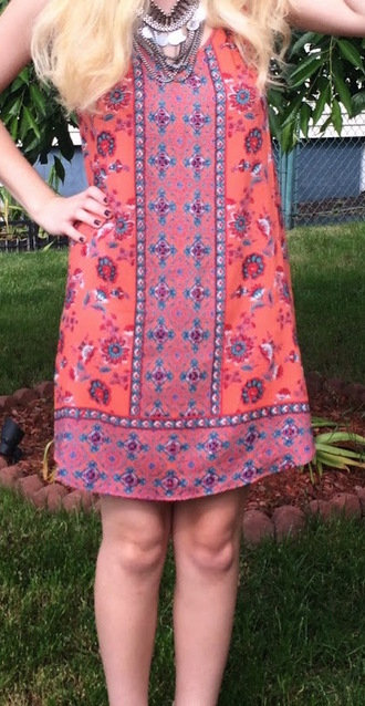 dress paisley shift coral