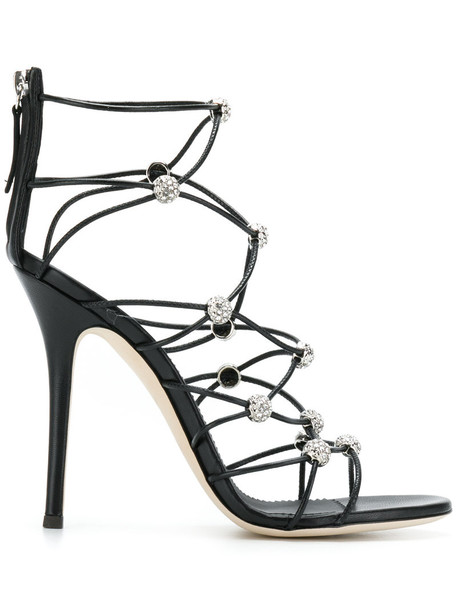 strappy women sandals leather black shoes