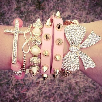 jewels bracelets jewelry tumblr just girly stuff girly girl cute accessories accessory studs pink bow cross infinity pastel chain bracelet back to school