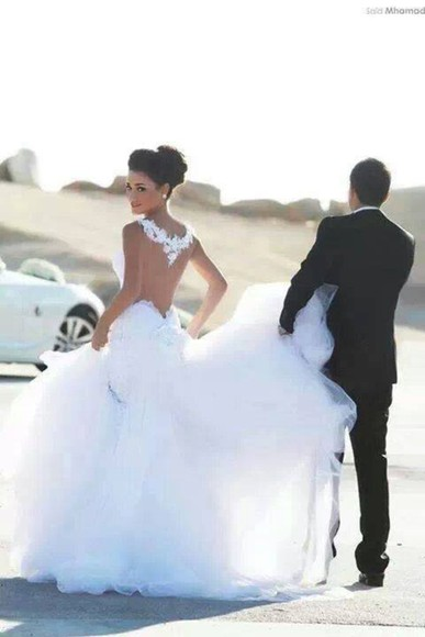 dress wedding dress white wedding long backless dress backless pure white detailed dress detailed