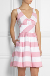 dress,striped cotton-blend dress,moschino,moschino cheap and chic,stripes,white,pink