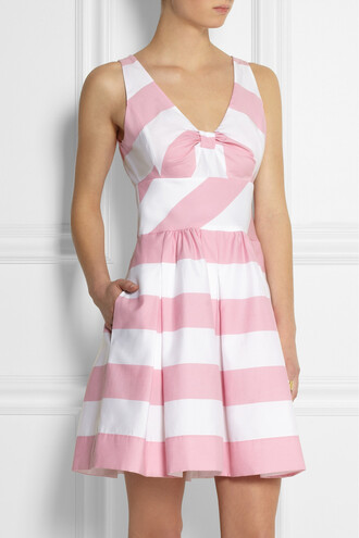 dress striped cotton-blend dress moschino moschino cheap and chic stripes white pink