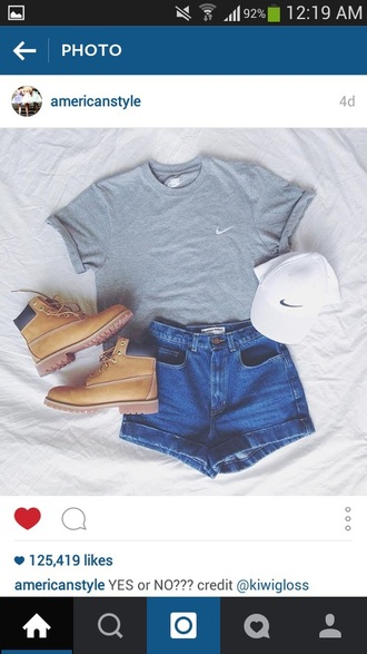 shorts nike white hat nike shirt boots