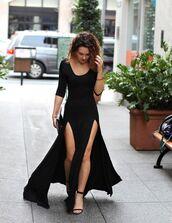 dress,black dress,slit,bodycon dress,maxi dress,black,maxi skirt with slits,slit dress,black maxi dress,black slit dress,long