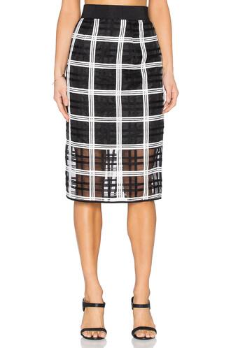 skirt midi skirt embroidered midi white black