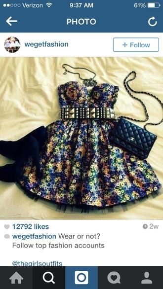 dress floral dress gold belt
