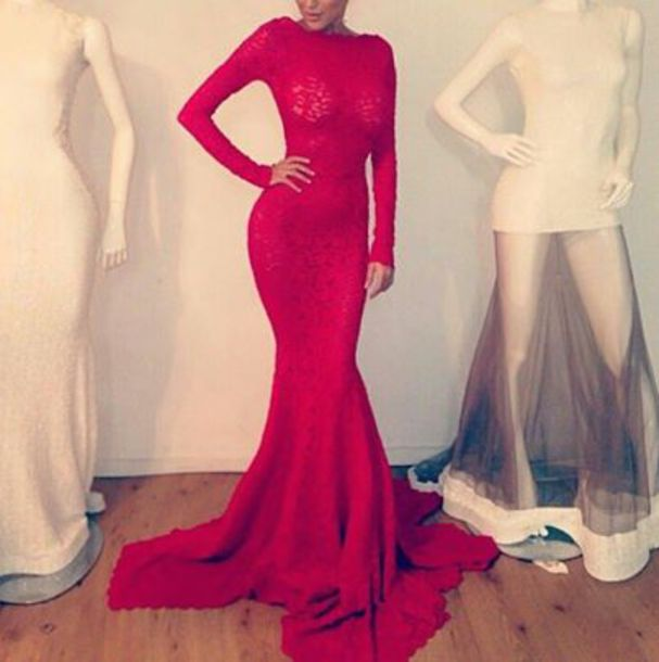 Red Long Sleeve Mermaid Dress