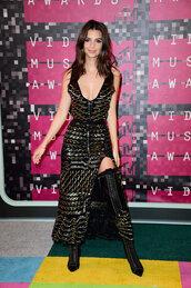 dress,sparkly dress,vma,emily ratajkowski,boots,plunge v neck,plunge dress,slit dress,metallic,thigh high boots,shoes