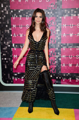 dress sparkly dress vma emily ratajkowski boots plunge v neck plunge dress slit dress metallic thigh high boots shoes