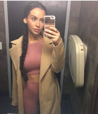 carli bybel pink top pink skirt suede jacket beige coat