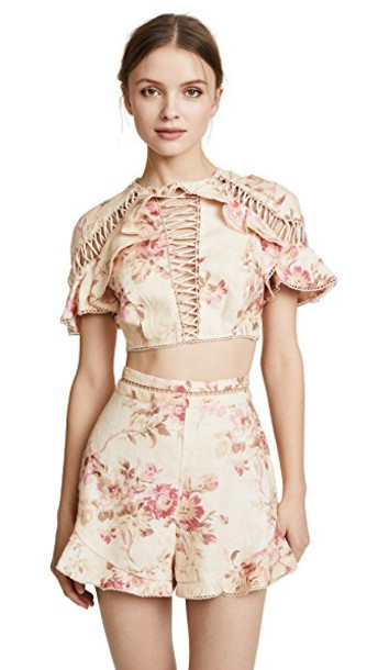 Zimmermann top lace up top lace floral cream