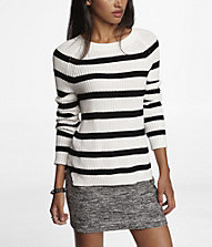 STRIPED SIDE SLIT SHAKER KNIT SWEATER | Express