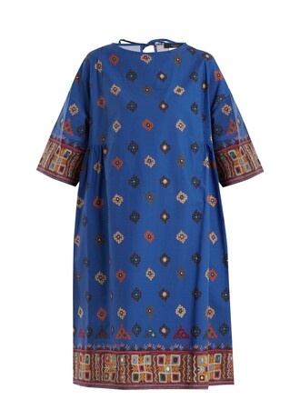 dress cotton print blue