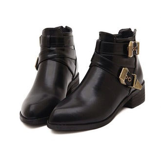 ankle boots gold buckles leather boots