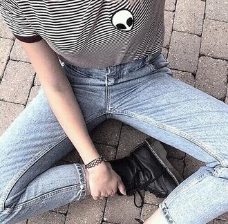 t-shirt stripes black and white grunge alien