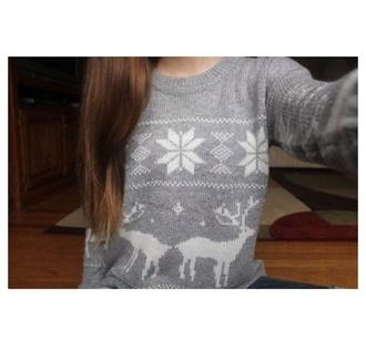 sweater christmas sweater deer grey oversized sweater ugly christmas sweater cute aztec christmas sweater tumblr tumblr girl tumblr clothes festive winter sweater snowflake crewneck crewneck sweater tumblr fashion cute cute sweaters cute sweater lovely christmas grey sweater
