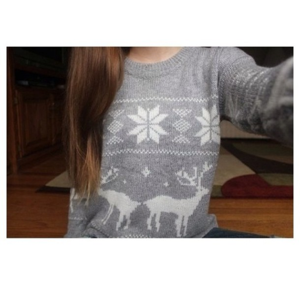 sweater christmas sweater deer grey oversized sweater ugly christmas