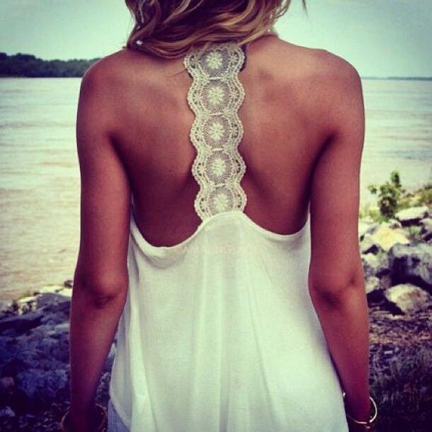 Top: white, beach, summer, summer dress, lace, tank top, t-shirt ...