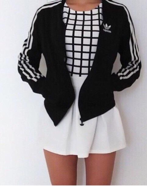 shirt black and white black grid grid adidas jacket superstar white black black and white skirt