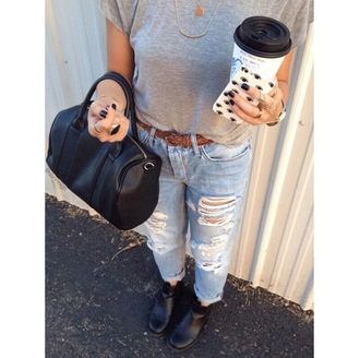 jeans on point clothing denim ripped jeans boyfriend jeans boots black boots ankle boots belt black bag bag grey grey top grey t-shirt eyes phone cover tumblr date outfit lifestyle travel casual jewels indie cool girl tumblr outfit blogger women gorgeous fashionista chill rad top