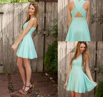 dress clothes blue dress cute dress love flowy mint baby blue cross back