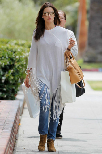 cardigan jeans poncho alessandra ambrosio denim fringe shoes ankle boots