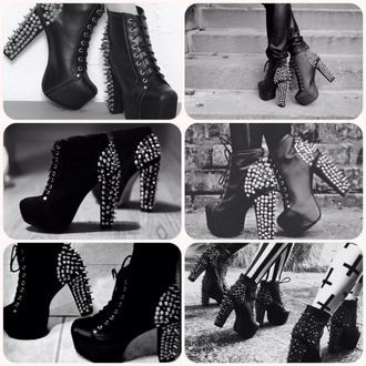 shoes lita jeffrey campbell black studded shoes high heels black and studded