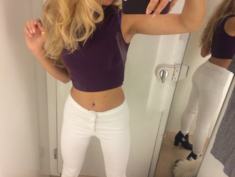 jeans white jeans skinny jeans purple tanned girls blonde hair curly hair
