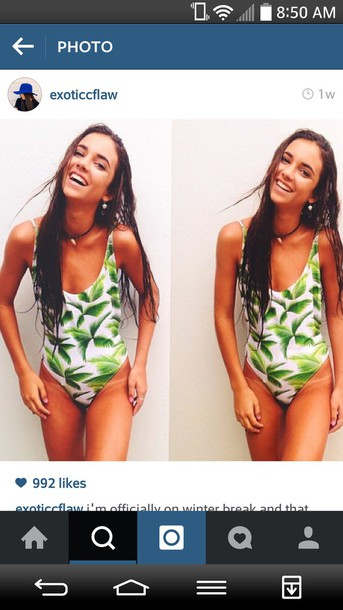 swimwear swimwear one piece swimsuit leaves printed