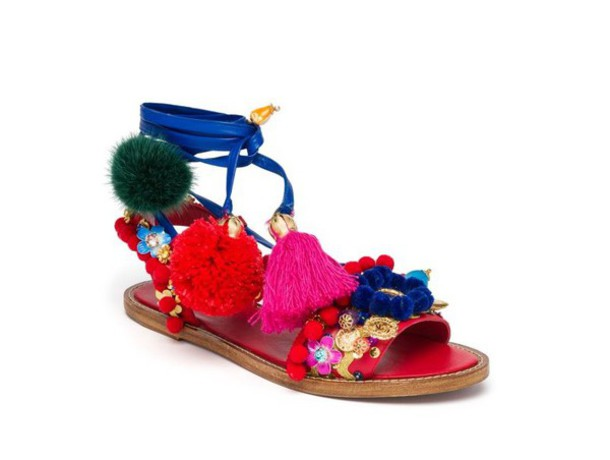 shoes pom poms sandals flats dolce and gabbana