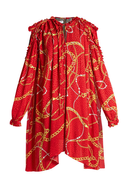 BALENCIAGA Flou dress in red / print
