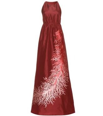 gown silk red dress
