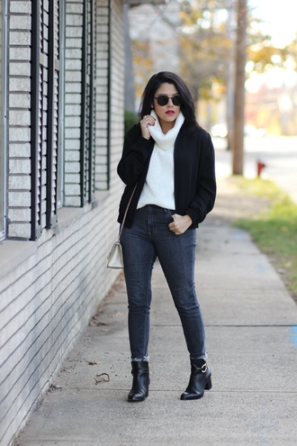 natymichele blogger sweater jeans shoes bag sunglasses bomber jacket fall outfits turtleneck sweater ankle boots skinny jeans