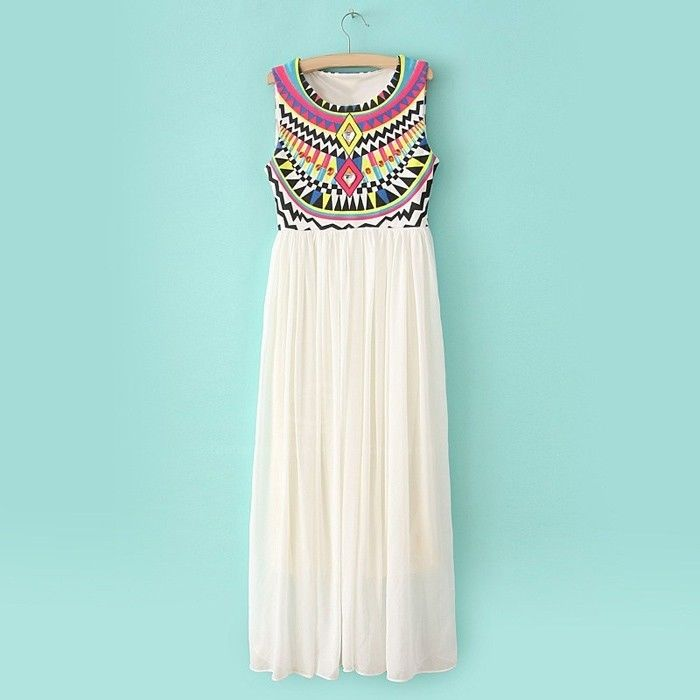 Bohemian Print Chiffon MIDI Maxi Dress White Blue or Yellow Size Small | eBay