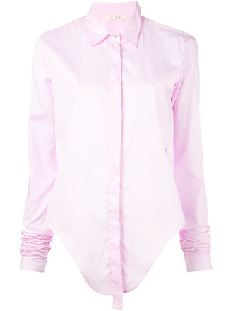 shirt women cotton purple pink top