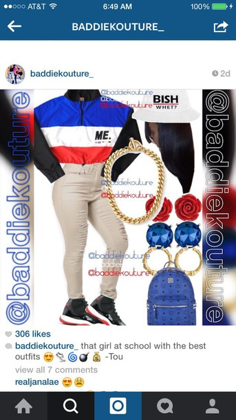 jacket windbreaker hair accessory pants earphones jumpsuit jewels retro throwback outfit baddiekouture_ outfit idea gold chain gorgeous